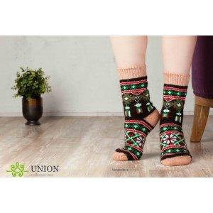 Коричневые шерстяные носки с узором