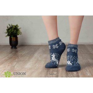 Короткие синие шерстяные носки с оленями